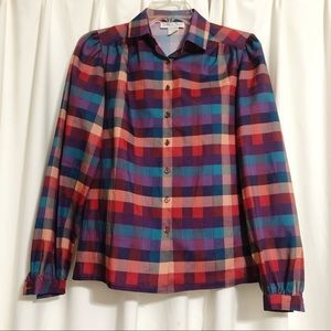 Vintage Plaid Princess Puff Sleeve Button Blouse